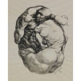 Bob Brennen Sketch Male Nudes by Bob Brennen Ink and Wash Painting 1986 c1986