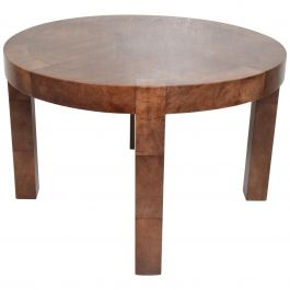 Mid-Century Modern Goatskin Wrapped Dining Table in Brown Tones after Aldo Tura