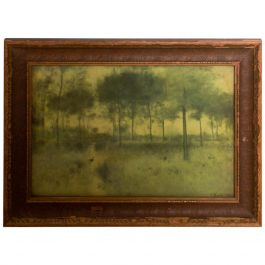 Vintage Antique Wood Framed Print Art Scenic Tree Landscape