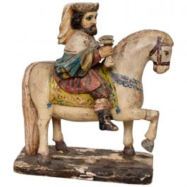 Antique Wood Horse and Kind Hand-Carved
