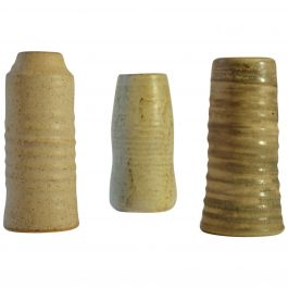 Group of Midcentury Ceramic Studio Vases Off-White Tones