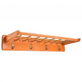 Vintage French Coat Rack in Maple Wood
