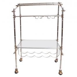 Mid-Century Modern Nickel-Plated Rolling Service Bar Cart Trolley