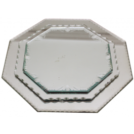 Set of 3 1950's French Hexagonal French Mirrored Trays