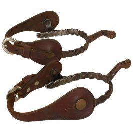 Antique Forged Iron Western Spurs with Leather & Brass Accent