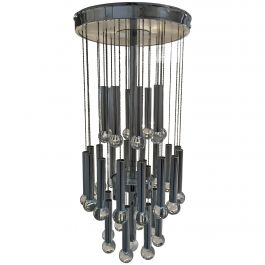 Italian Gaetano Sciolari Chrome and Crystal Glass Cascade Pendant with 9 Lights