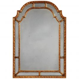 Giltwood 'Gold' 19th Century Mirror, Quadruple Bevelled Border, Mercury Plate
