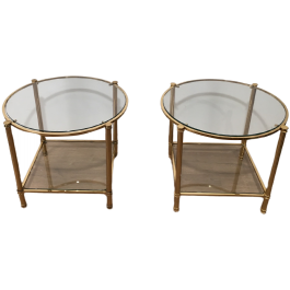 Pair Of Round Brass 2 Tiers Side Tables. Circ 1970