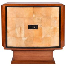 Art Deco Mahogany and Velum Cabinet