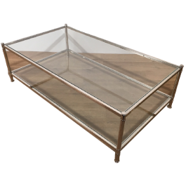LARGE CHROME COFFEE TABLE WITH GLASS TOPS