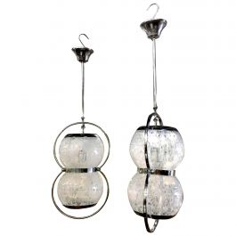 Pair of Midcentury Italian Murano Glass Pendant Lamps, 1950s-1960s