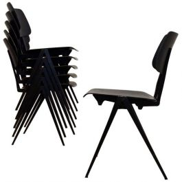 Custom order: 8 Galvanitas S17 chairs (stackable) in dark ebony with black frame with shipping