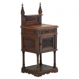 Carved Walnut Side Cabinet 19th Century Gothic Revival Nightstand Bedside Table