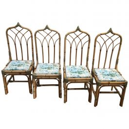 Mid-Century Modern Set of Four Bamboo Italian Chairs with Floral Cushions