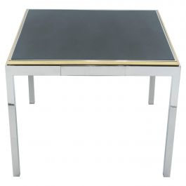 Willy Rizzo Lacquered Chrome Brass Flaminia Game Table, 1970s
