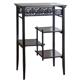 AN AESTHETIC MOVEMENT EBONISED RECTANGULAR SIDE TABLE ATTRIBUTED TO F.B. GOODYER FOR THE AESTHETIC GALLERY