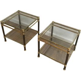 NICE PAIR OF GUN METAL AND BRASS SIDE TABLES