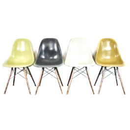 Eames Herman Miller Dsw Side Chairs In Neutrals Grey/Light Ochre