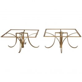 Pair of Mexican Modernist Brass Side Tables by Arturo Pani