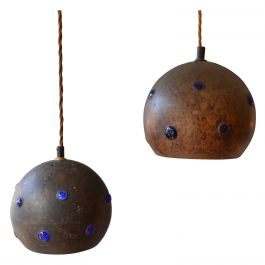 Pair of Blue Glass and Patinated Copper Pendants by Nanda Still