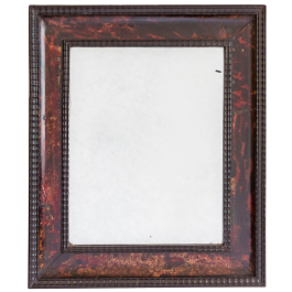 A RECTANGULAR MIRROR WITH A TORTOISESHELL VENEERED FRAME