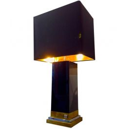 JEAN CLAUDE MAHEY BLACK LACQUER, BRASS AND CHROME LAMP