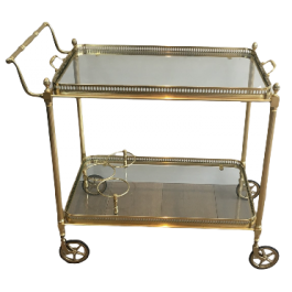 NEOCLASSICAL BRASS TROLLEY WITH 2 REMOVABLE TRAYS