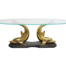 A 1970's Italian Bronze, Brass & Glass Coffee Table with Dolphin Base