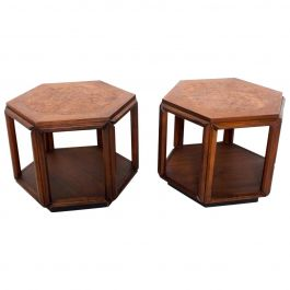 Mid-Century Modern Hexagonal Side Tables by John Keal for Brown Saltman