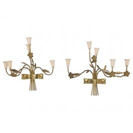 Mid-Century Modern Pair of Italian Wall Sconces Five Arms