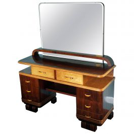 Art Deco Vanity Veneer Rosewood and Maple with Bakelite Handles, Italy, 1930s