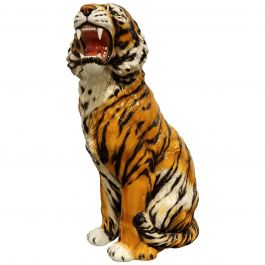 Extra Large Ceramic Hand Painted Tiger, 1970s, Italy