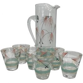 1950s Modern Set Of Six Glasses And Pitcher