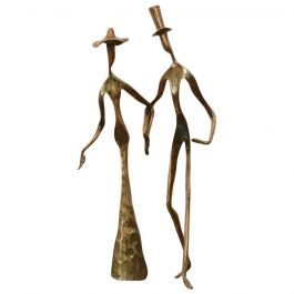 Elegant Bronze 'Holding Hands' Sculpture, 1970s