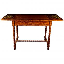 Swedish Antique Folk Art Kurbits Country Drop-Leaf Table Late 19th Century