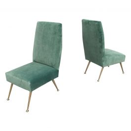 Gigi Radice Elegant and Trendy Pair of Side Chairs for Minotti, Italy, 1950s