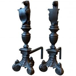 Pair of Tall Antique Cast Iron Fire Dogs