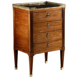 Louis XVI Style Mahogany Wood Bedside Commode with Marble Top, 20th Century