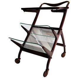 Vintage Italian Serving Trolley by Cesare Lacca, 1950s