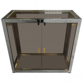 Italian Mid-Century Modern Romeo Rega Vitrine in Chrome, Brass and Smoked Glass