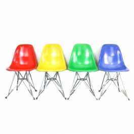 Eames Herman Miller Dsr Side Chairs On Eiffel Base In Brights Red / Blue / Kelly Green / Yellow
