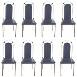 Set of Eight Chairs Plexiglass and Gunmetal by Maison Jansen, 1970s