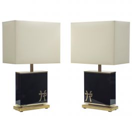 Pair of Large Midcentury J.C. Mahey Black Lacquer and Brass Table Lamps 1970s