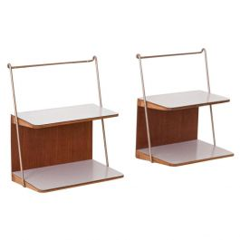 Fully Restored Pair of Italian Teak and Formica Bedside Tables