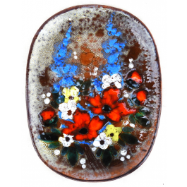 Large French Vintage 'Bouquet De Fleurs' Ceramic Plate Or Serving Platter C1970 Signed By Artist