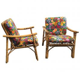Mid-Century Modern Pair of Italian Bamboo Armchairs with Original Floral Cushion