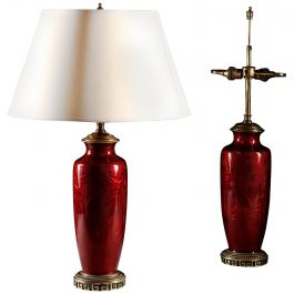 Pair of 19th Century Chinese Red Enamel Table Lamps with Brass Mounts