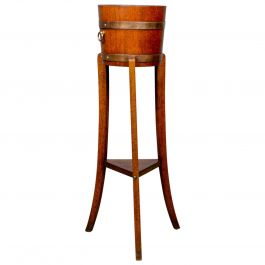 Antique Jardiniere, Arts and Crafts, Coopered Barrel on Stand, Lister circa 1900