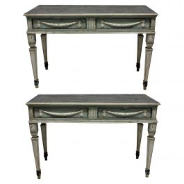 Pair of Large 18th Century Neoclassical Painted Console Tables
