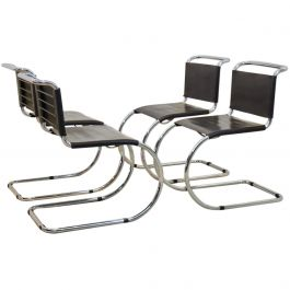 Ludwig Mies van der Rohe set of MR10 Cantilever Chairs in Chocolate Brown, 1960s